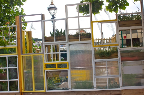 Queens's walk window gardens, made out of reclaimed materials with volunteers
