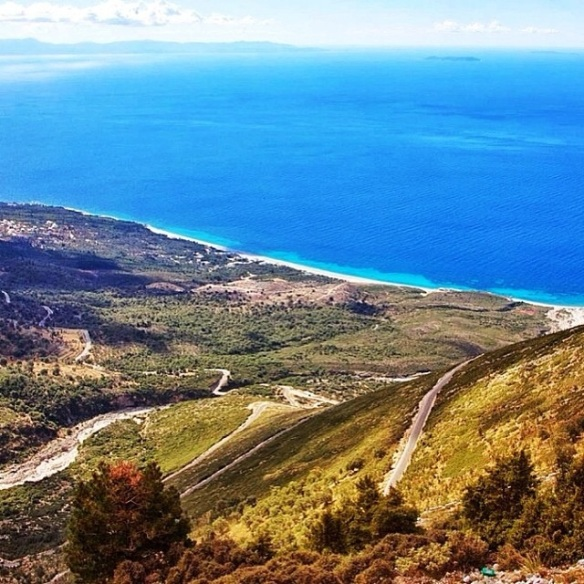 Albanian Ionian coast from the peak of Mountain of Llogara