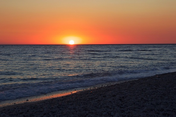 Sunset from Drimadhes beach, South of Albania