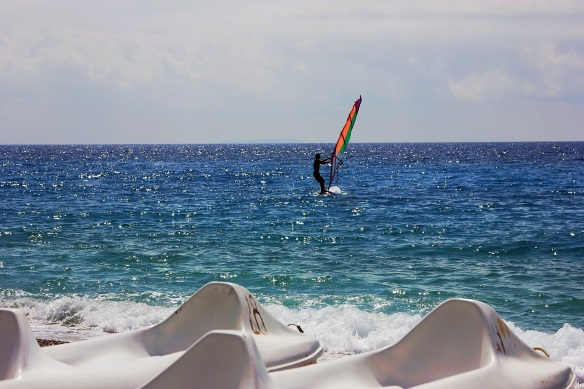 Bledi Mone on his windsurf