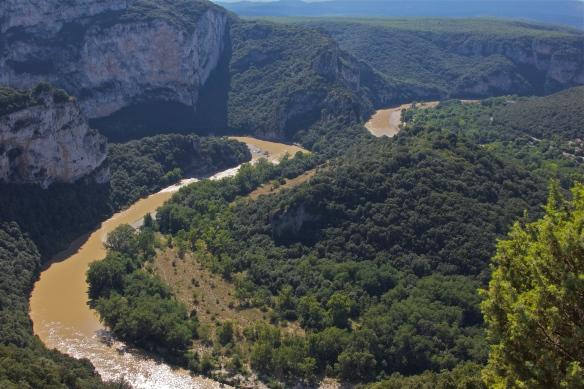 River Ardeche meandering through gorges in the Ardeche