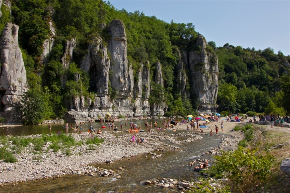 Beach by the river Ardeche, in Balazuc